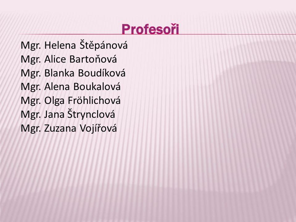 Profesoři Mgr. Helena Štěpánová Mgr. Alice Bartoňová