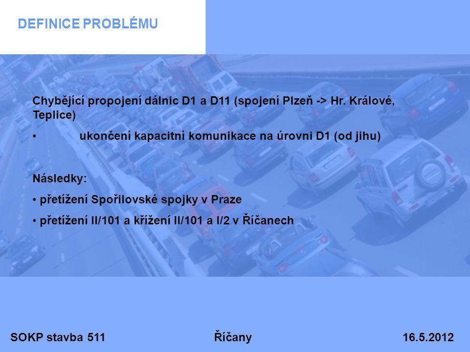 DEFINICE PROBLÉMU Chybějící propojení dálnic D1 a D11 (spojení Plzeň -> Hr. Králové, Teplice) ukončení kapacitní komunikace na úrovni D1 (od jihu)