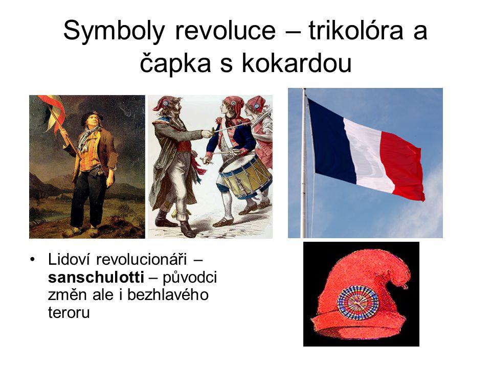 Symboly revoluce – trikolóra a čapka s kokardou