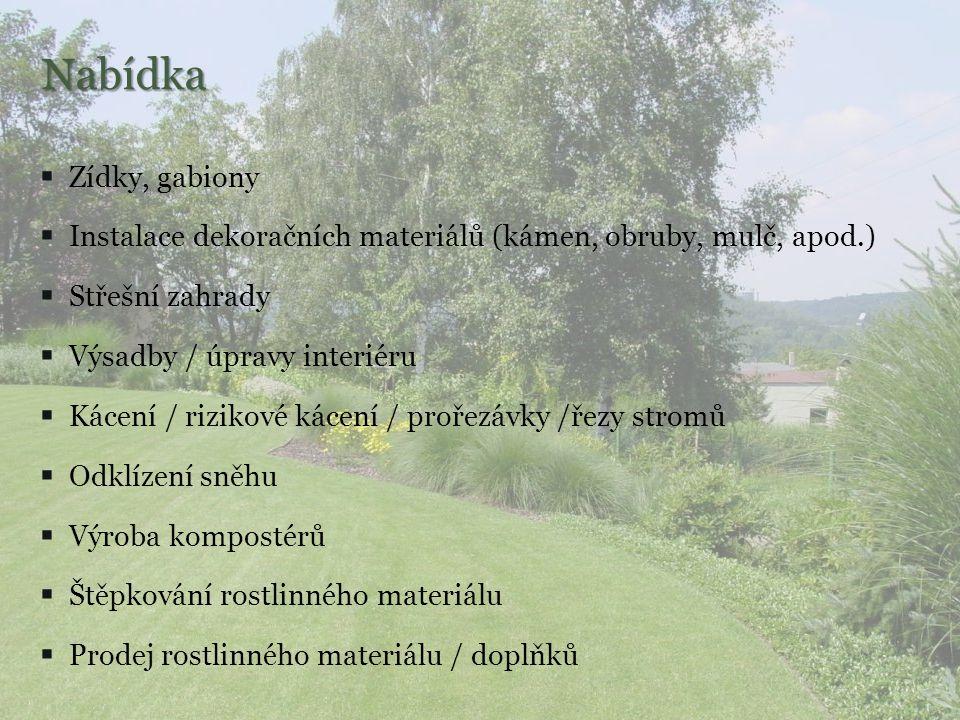 Nabídka Zídky, gabiony. Instalace dekoračních materiálů (kámen, obruby, mulč, apod.) Střešní zahrady.