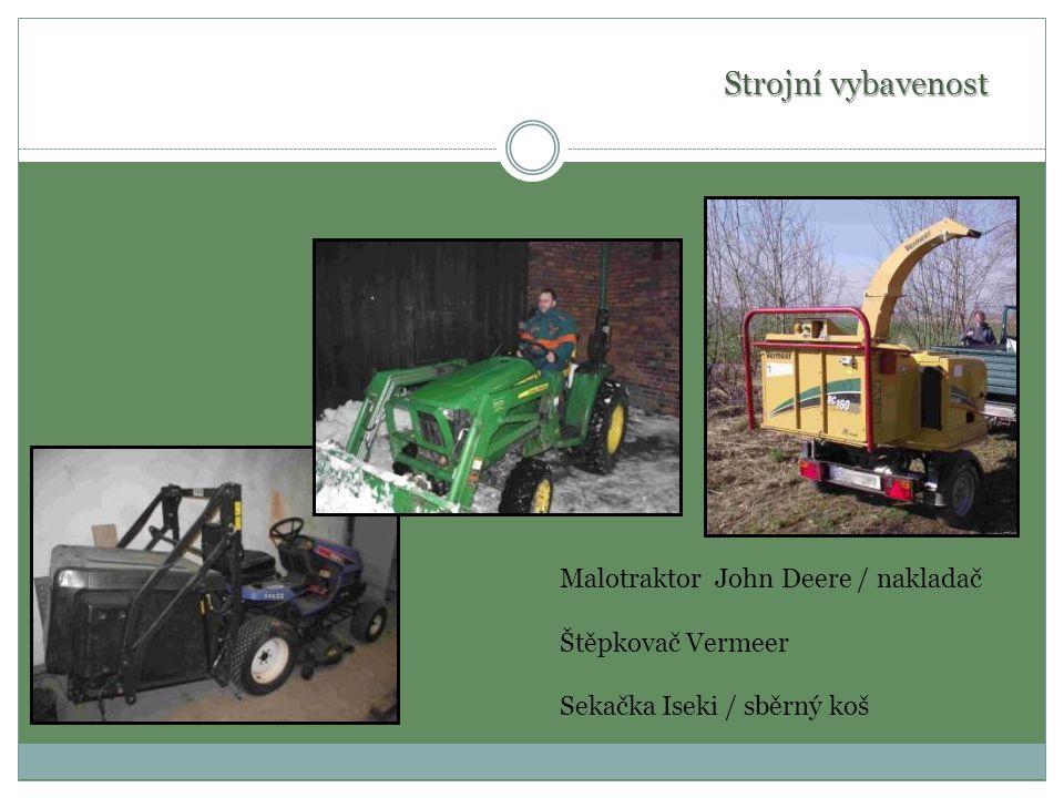Strojní vybavenost Malotraktor John Deere / nakladač Štěpkovač Vermeer