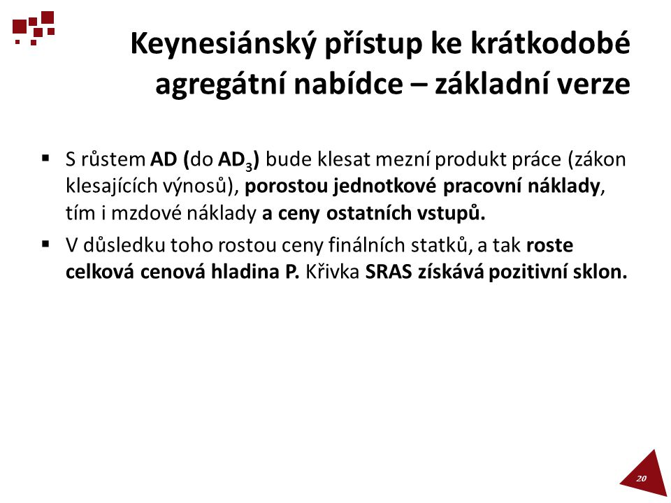 Keynesiánský přístup ke krátkodobé agregátní nabídce – základní verze