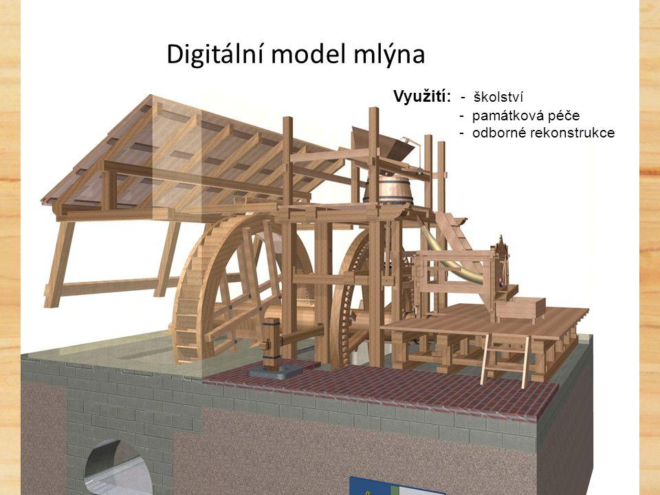 Digitální model mlýna Využití: - školství - památková péče