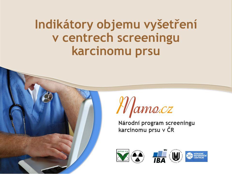 Indikátory objemu vyšetření v centrech screeningu karcinomu prsu