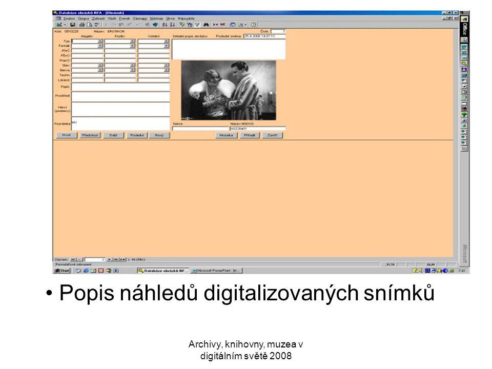 Popis náhledů digitalizovaných snímků