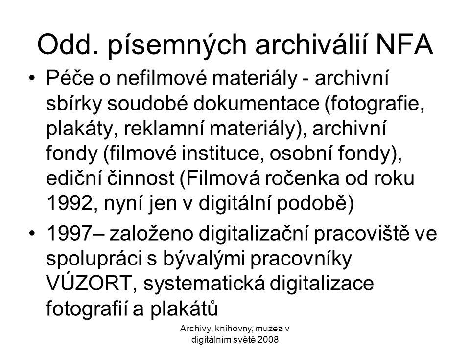 Odd. písemných archiválií NFA