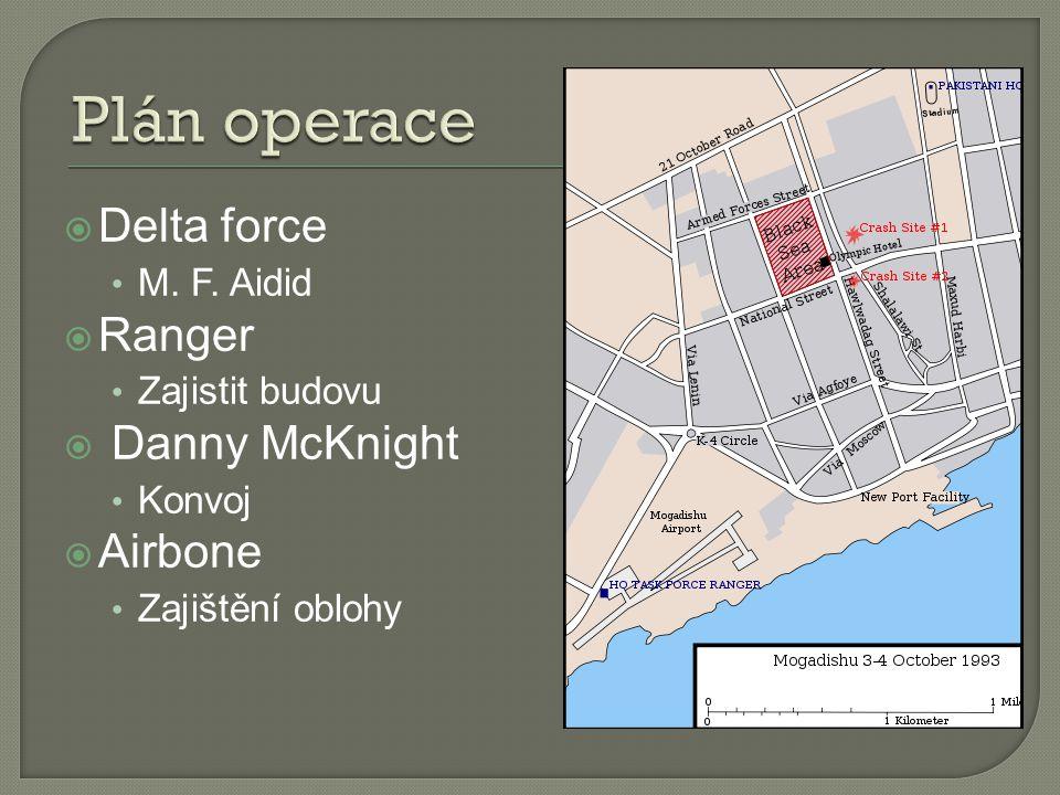 Plán operace Delta force Ranger Danny McKnight Airbone M. F. Aidid