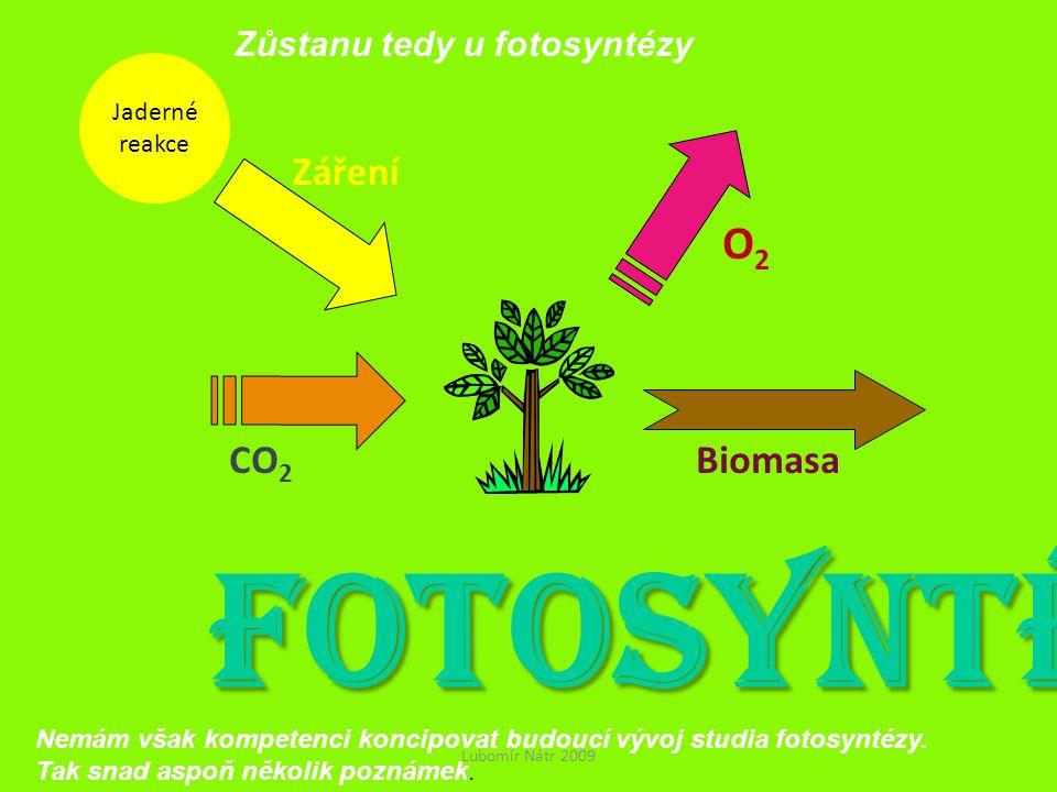 FOTOSYNTÉZA O2 Záření CO2 Biomasa Zůstanu tedy u fotosyntézy