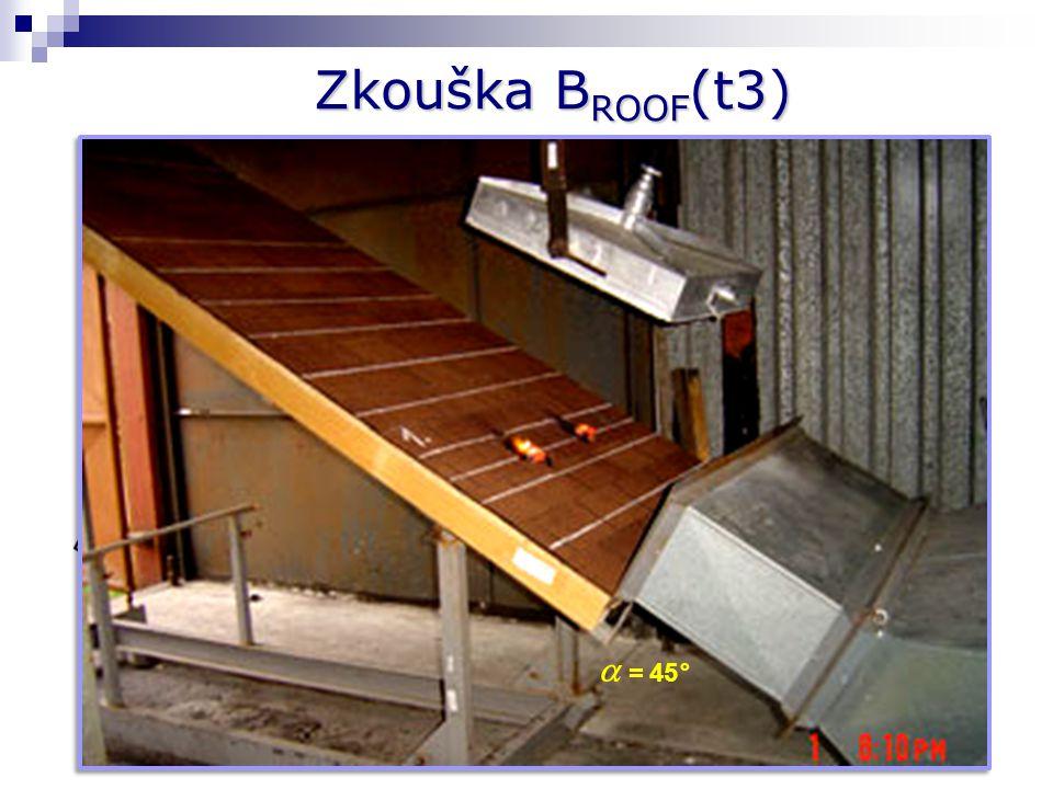 Zkouška BROOF(t3)  = 45° I = 15 kW/m² v = 3 m.s-1 Úvodní ustanovení