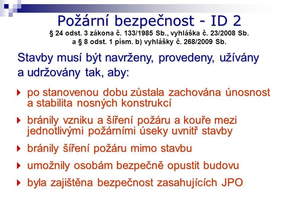 Požární bezpečnost - ID 2 § 24 odst. 3 zákona č. 133/1985 Sb