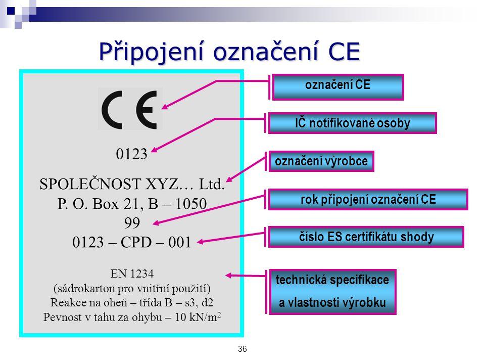 Připojení označení CE 0123 SPOLEČNOST XYZ… Ltd. P. O. Box 21, B – 1050