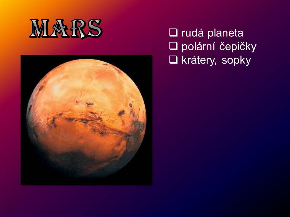 MARS rudá planeta polární čepičky krátery, sopky