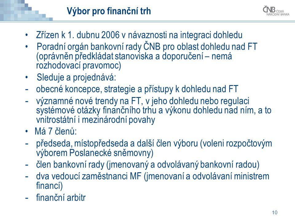 Výbor pro finanční trh Zřízen k 1. dubnu 2006 v návaznosti na integraci dohledu.