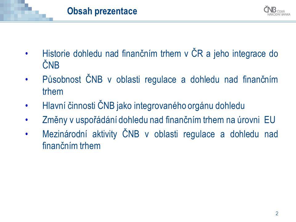 Obsah prezentace Historie dohledu nad finančním trhem v ČR a jeho integrace do ČNB. Působnost ČNB v oblasti regulace a dohledu nad finančním trhem.