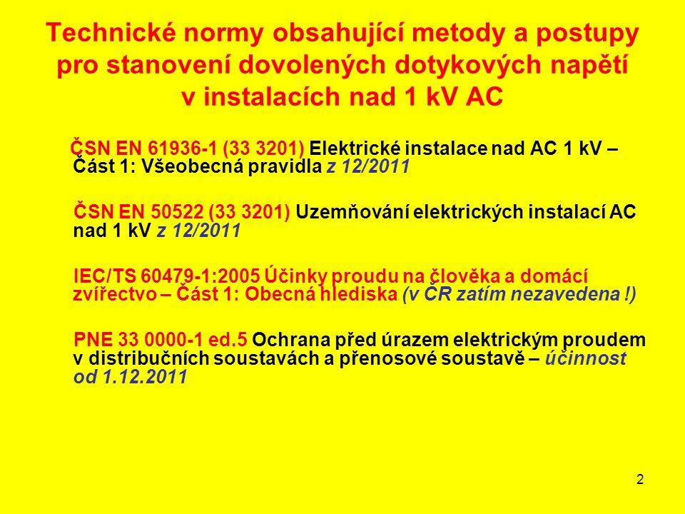Technické normy obsahující metody a postupy pro stanovení dovolených dotykových napětí v instalacích nad 1 kV AC