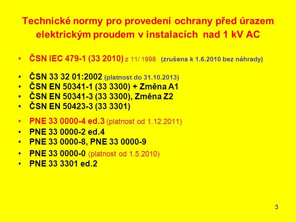 Technické normy pro provedení ochrany před úrazem elektrickým proudem v instalacích nad 1 kV AC
