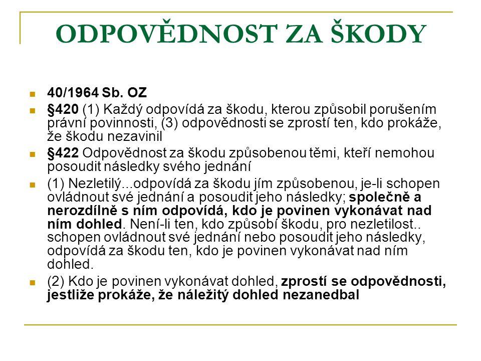 ODPOVĚDNOST ZA ŠKODY 40/1964 Sb. OZ