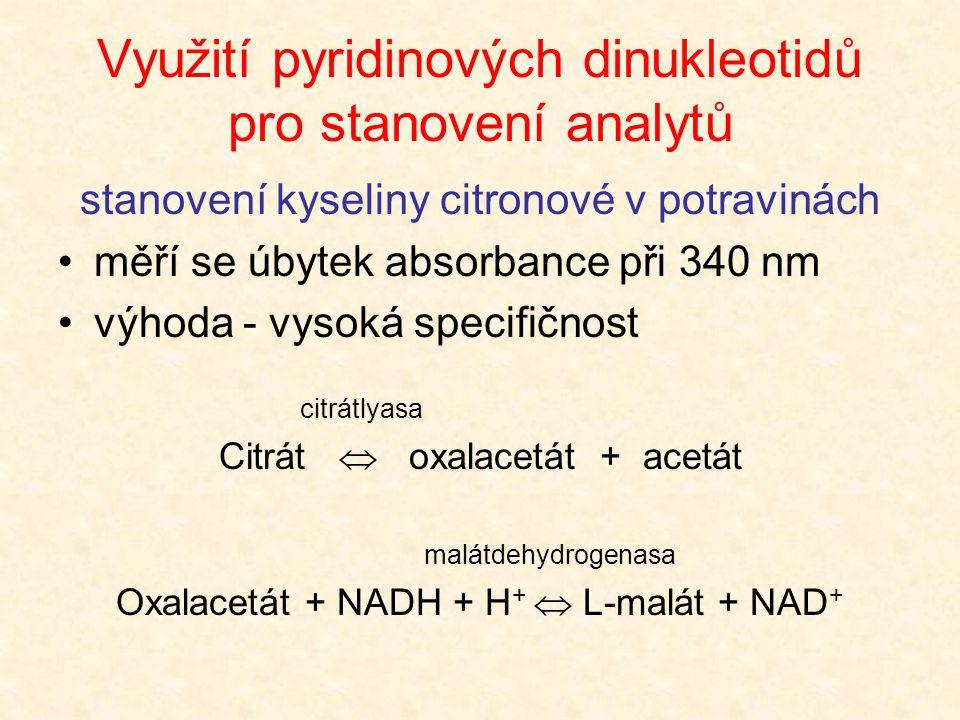 Využití pyridinových dinukleotidů pro stanovení analytů
