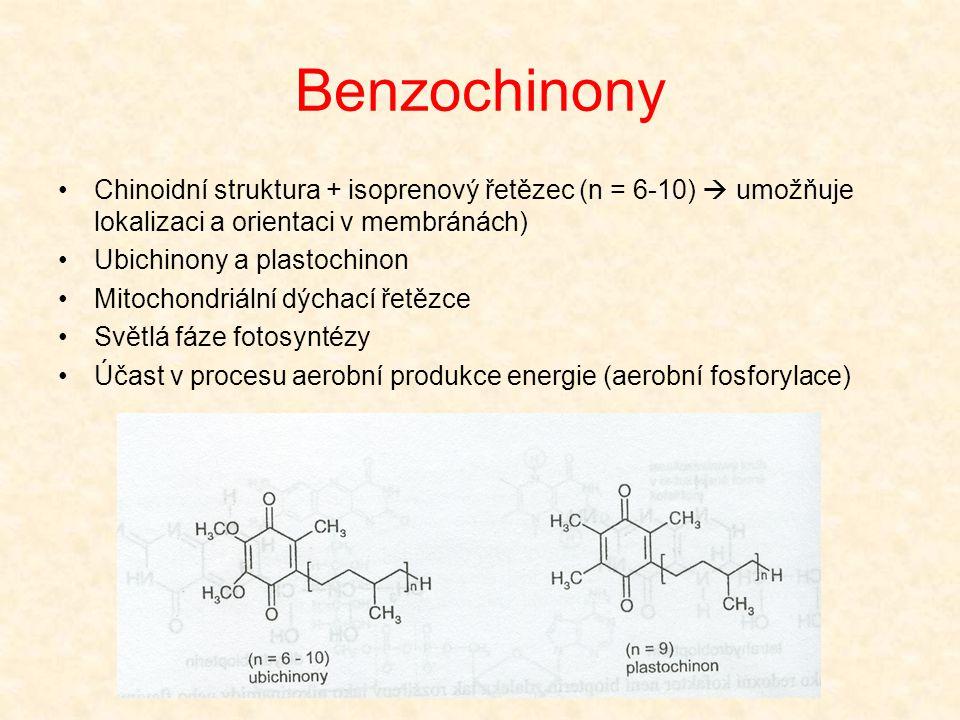 Benzochinony Chinoidní struktura + isoprenový řetězec (n = 6-10)  umožňuje lokalizaci a orientaci v membránách)