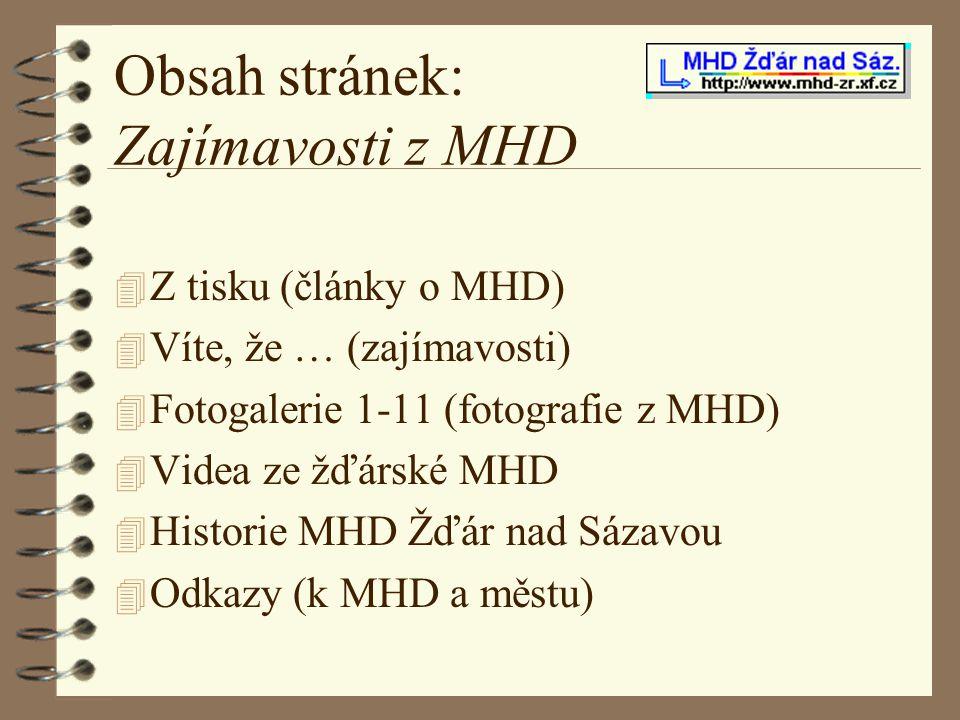Obsah stránek: Zajímavosti z MHD