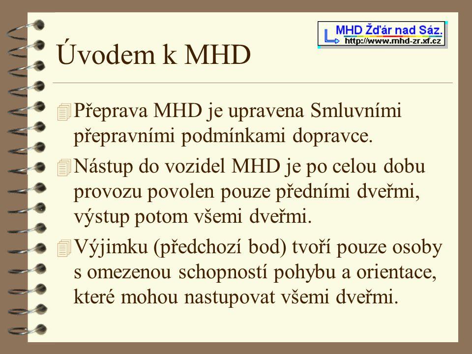 Úvodem k MHD Přeprava MHD je upravena Smluvními přepravními podmínkami dopravce.