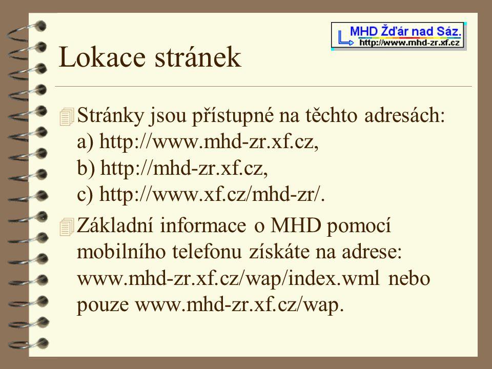 Lokace stránek