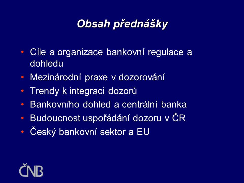 Obsah přednášky Cíle a organizace bankovní regulace a dohledu