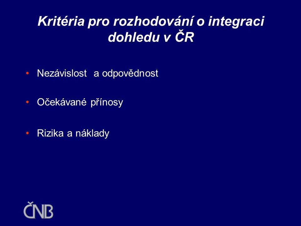 Kritéria pro rozhodování o integraci dohledu v ČR