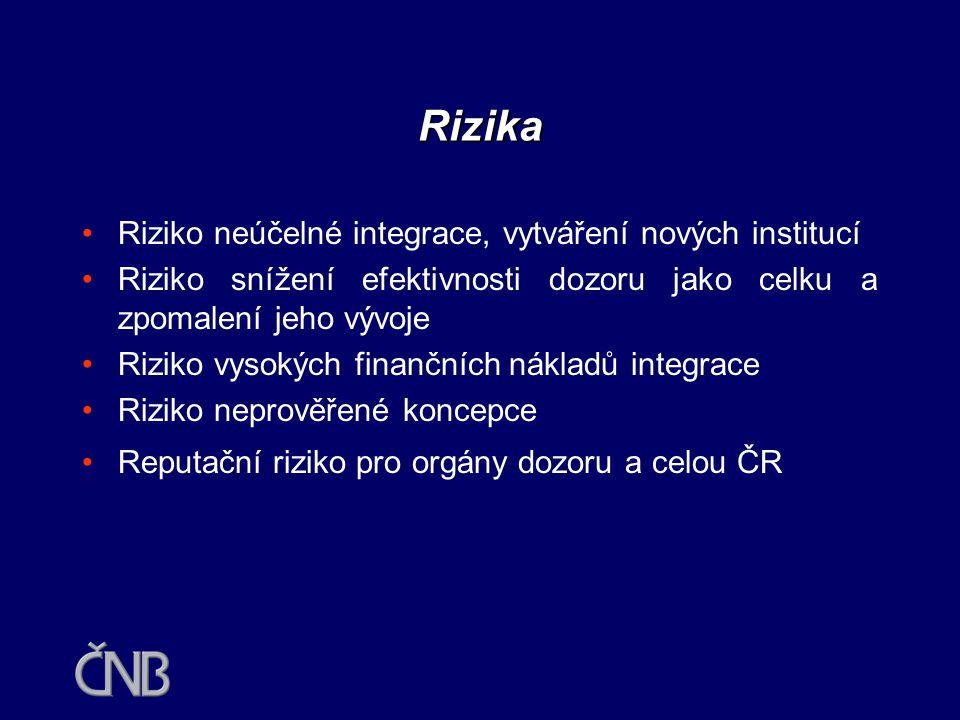 Rizika Riziko neúčelné integrace, vytváření nových institucí