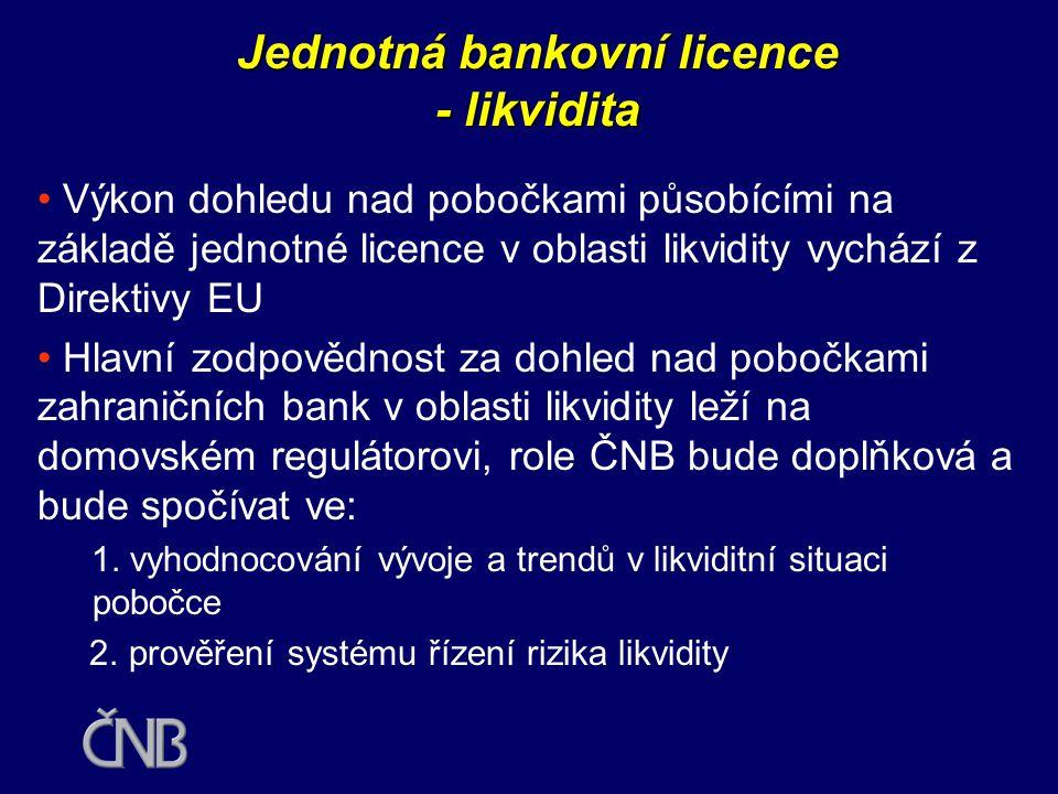 Jednotná bankovní licence - likvidita