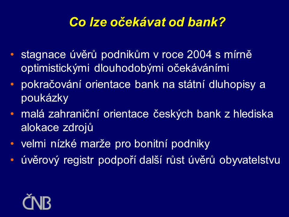Co lze očekávat od bank stagnace úvěrů podnikům v roce 2004 s mírně optimistickými dlouhodobými očekáváními.