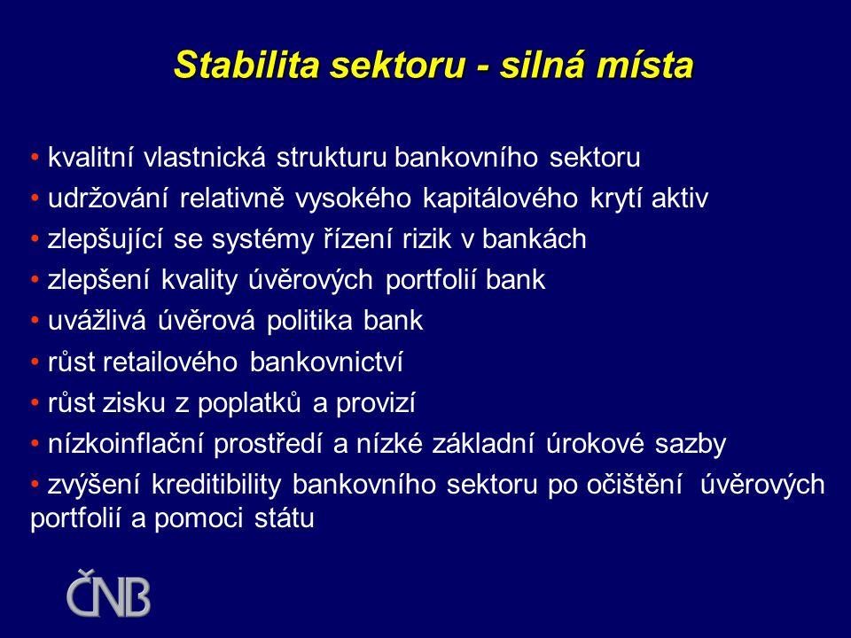 Stabilita sektoru - silná místa