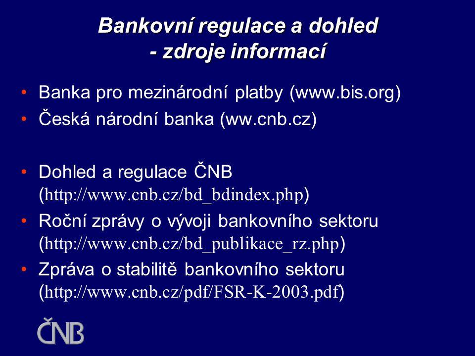 Bankovní regulace a dohled - zdroje informací