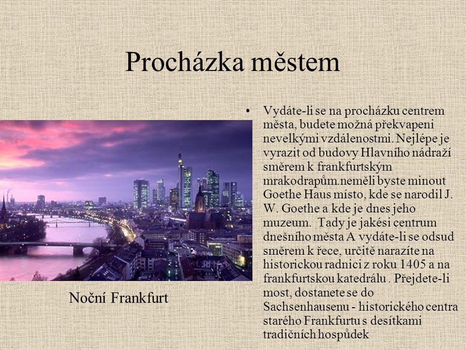 Procházka městem Noční Frankfurt