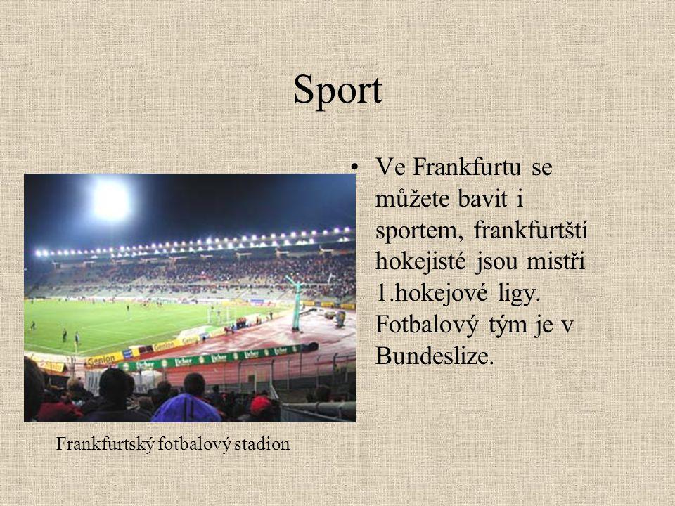 Sport Ve Frankfurtu se můžete bavit i sportem, frankfurtští hokejisté jsou mistři 1.hokejové ligy. Fotbalový tým je v Bundeslize.