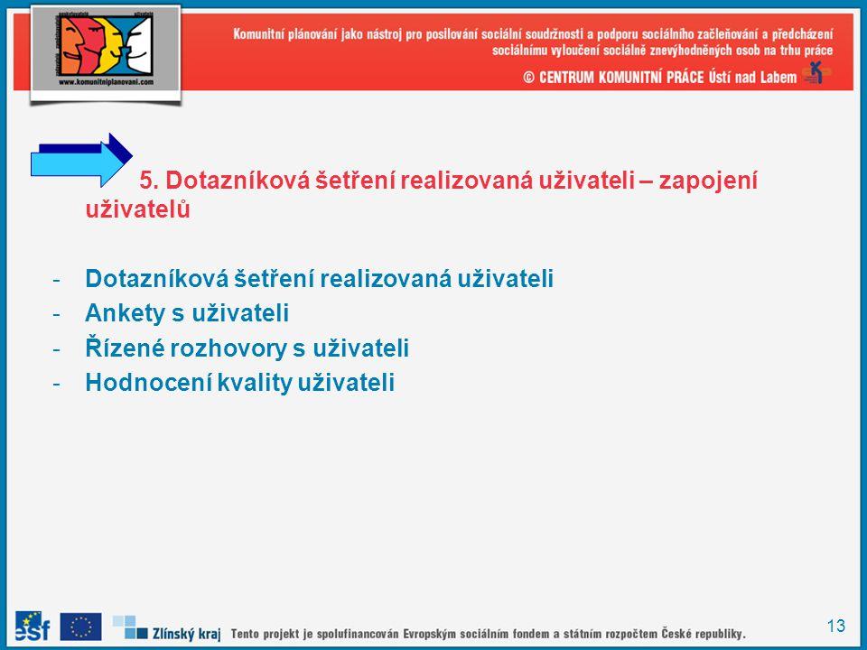 5. Dotazníková šetření realizovaná uživateli – zapojení uživatelů