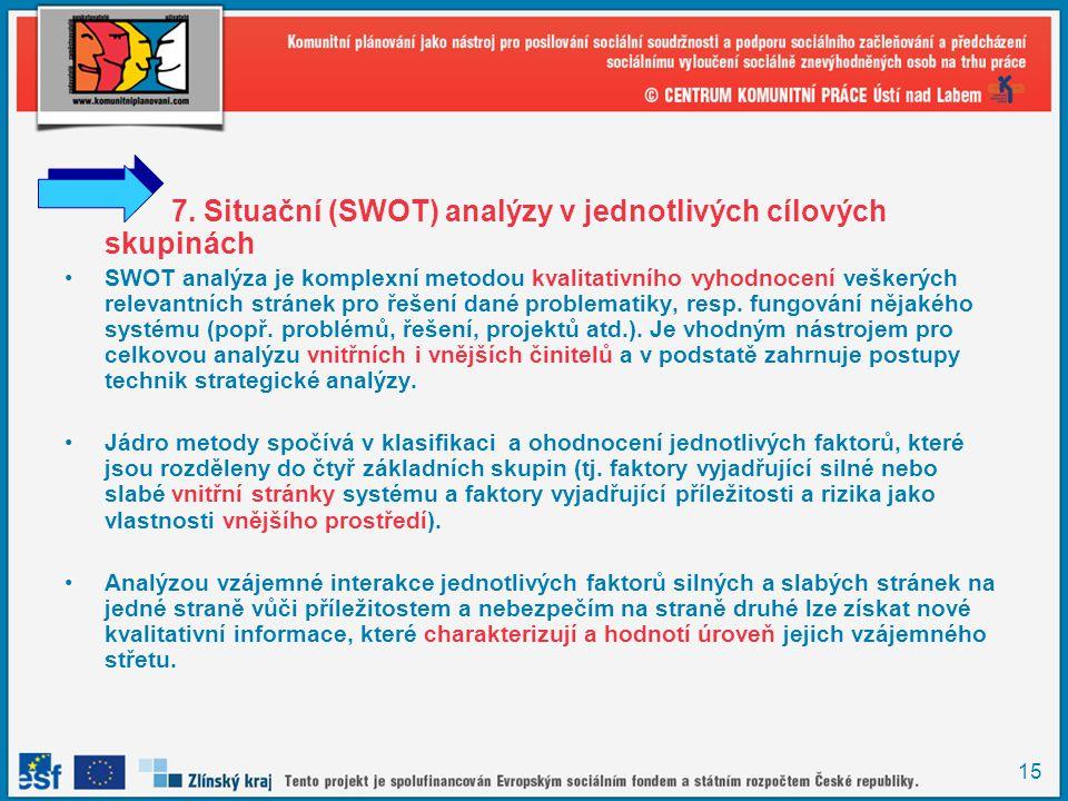 7. Situační (SWOT) analýzy v jednotlivých cílových skupinách