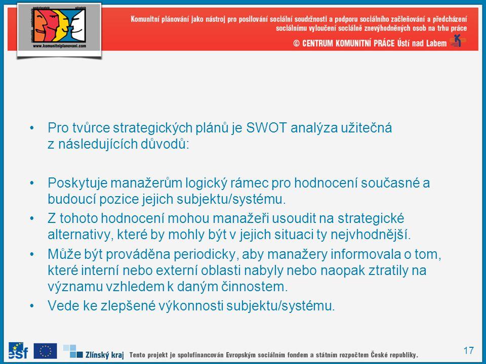 Pro tvůrce strategických plánů je SWOT analýza užitečná z následujících důvodů: