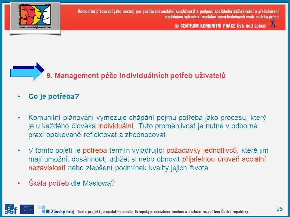 9. Management péče individuálních potřeb uživatelů