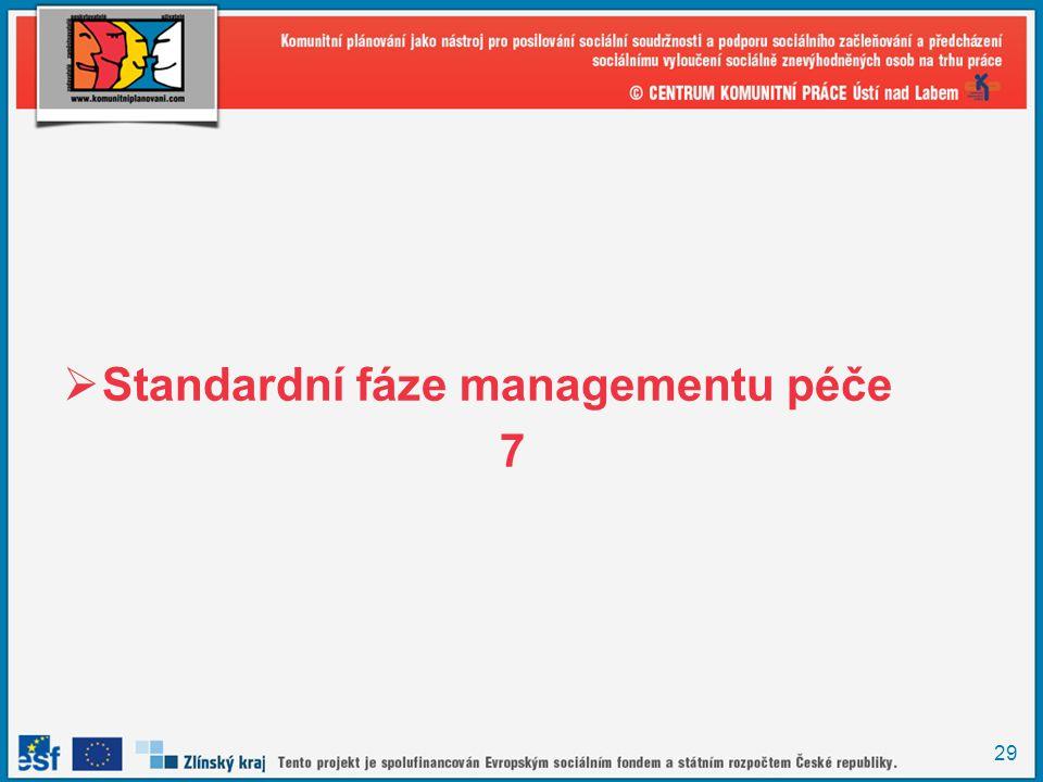 Standardní fáze managementu péče