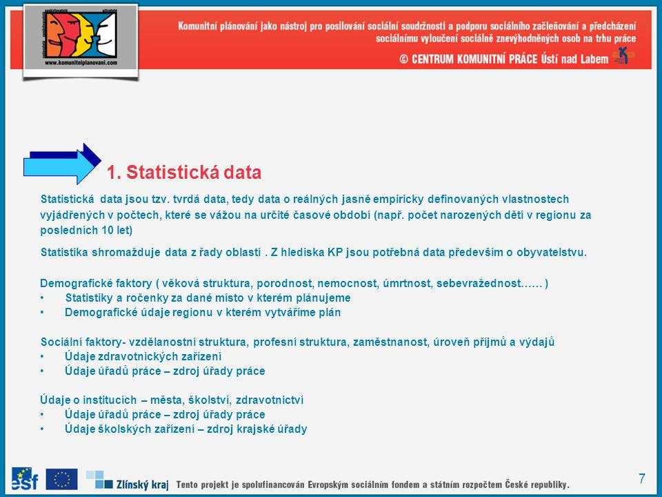 1. Statistická data Statistická data jsou tzv. tvrdá data, tedy data o reálných jasně empiricky definovaných vlastnostech.