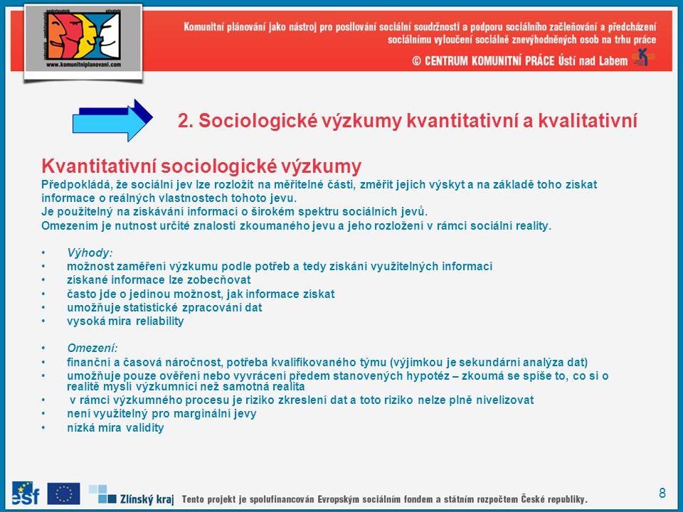2. Sociologické výzkumy kvantitativní a kvalitativní
