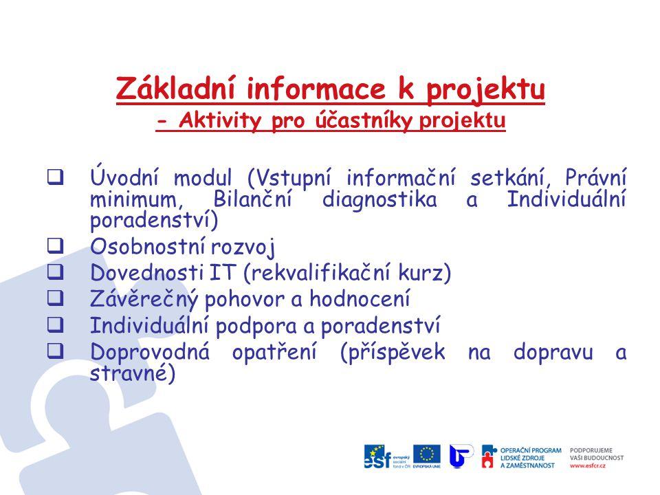 Základní informace k projektu - Aktivity pro účastníky projektu