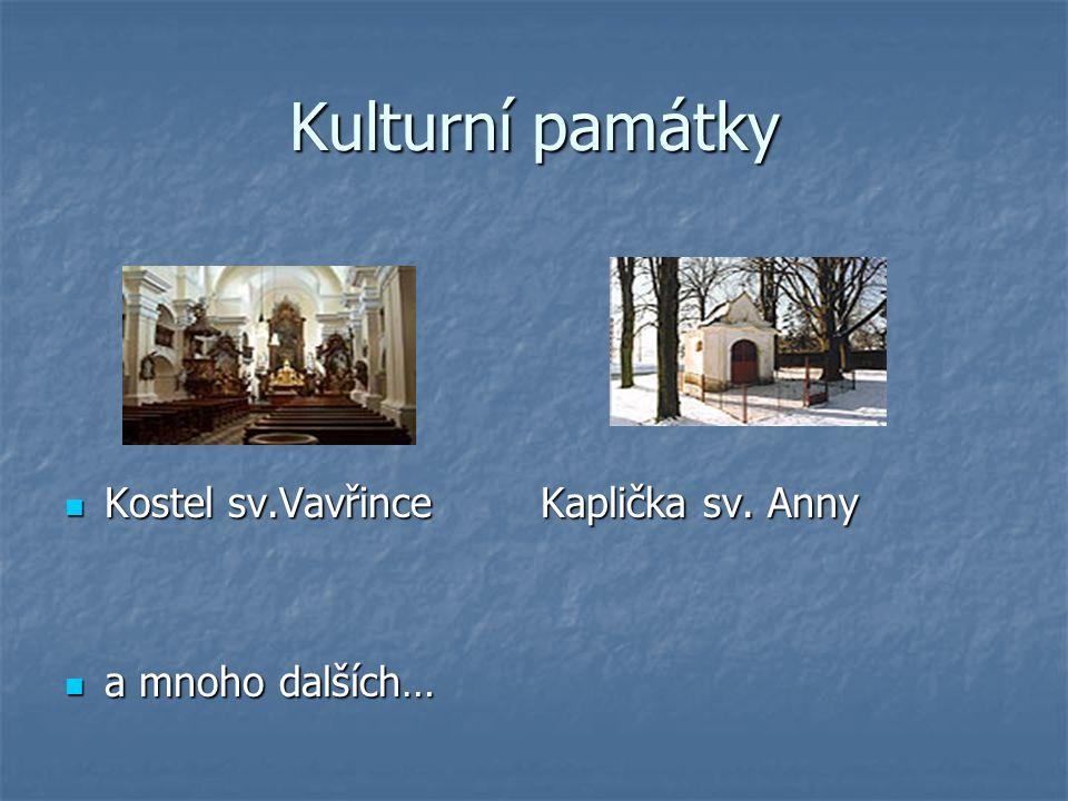 Kulturní památky Kostel sv.Vavřince Kaplička sv. Anny a mnoho dalších…
