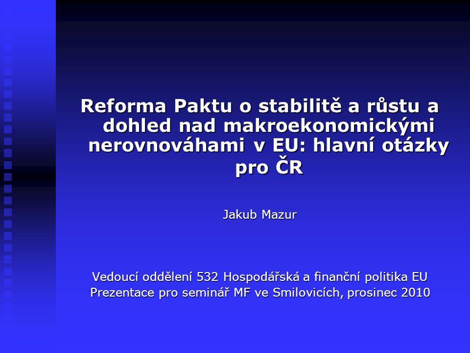 Reforma Paktu o stabilitě a růstu a dohled nad makroekonomickými nerovnováhami v EU: hlavní otázky pro ČR