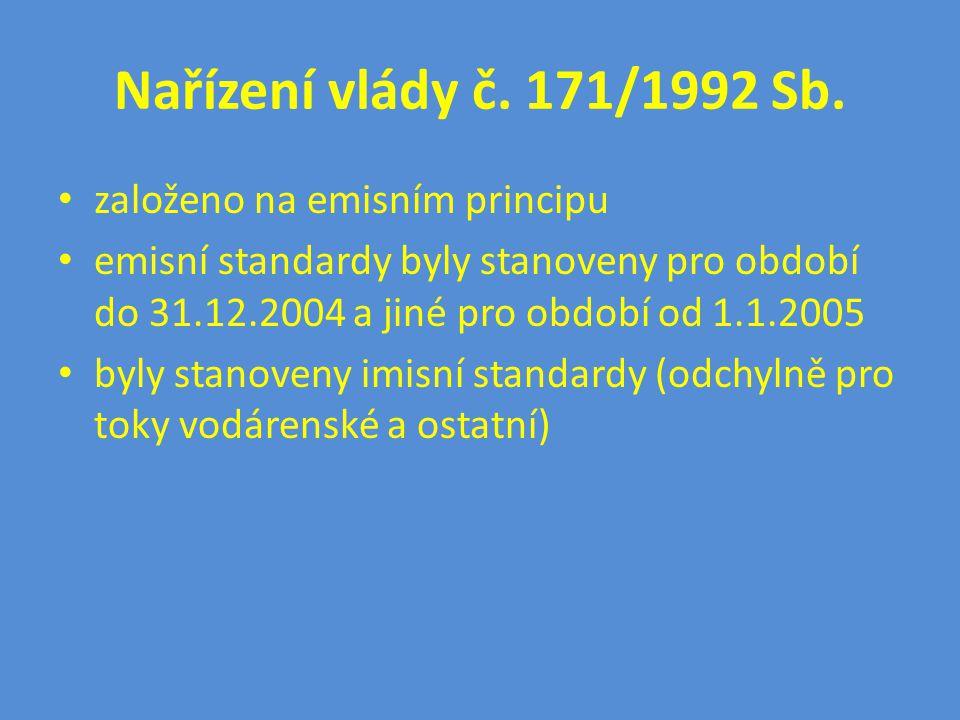 Nařízení vlády č. 171/1992 Sb. založeno na emisním principu