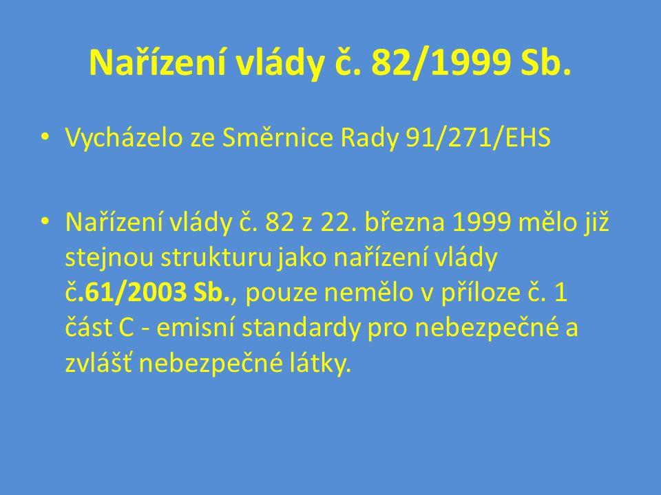 Nařízení vlády č. 82/1999 Sb. Vycházelo ze Směrnice Rady 91/271/EHS