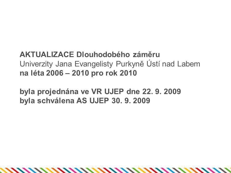 AKTUALIZACE Dlouhodobého záměru Univerzity Jana Evangelisty Purkyně Ústí nad Labem na léta 2006 – 2010 pro rok 2010 byla projednána ve VR UJEP dne 22.
