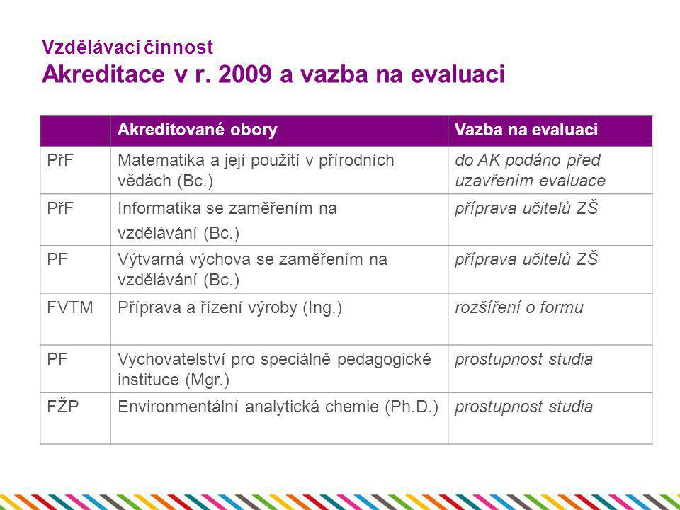 Vzdělávací činnost Akreditace v r. 2009 a vazba na evaluaci
