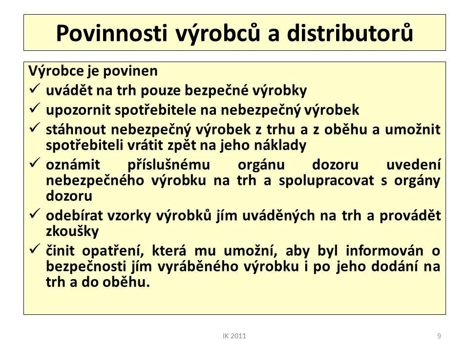 Povinnosti výrobců a distributorů